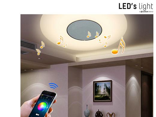 Speaker Met Licht : Led s light in dimbare plafonnière met bluetooth speaker Ø