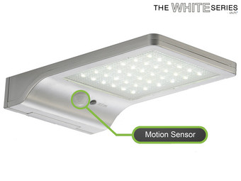 The White Series LED-Flutlicht mit Solarpanel