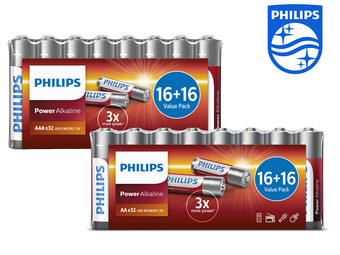 64x Philips Power Alkali-Batterien | 32x AA und 32x AAA