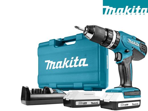 Makita 18 V Klopboor/Schroefmachine + 2x 1,3 Ah Accu en 74-delige Accessoireset
