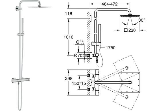 duschsystem mit thermostat tn15 hitoiro. Black Bedroom Furniture Sets. Home Design Ideas
