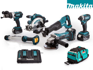 6 Makita 18 V Powertools + Draagtas