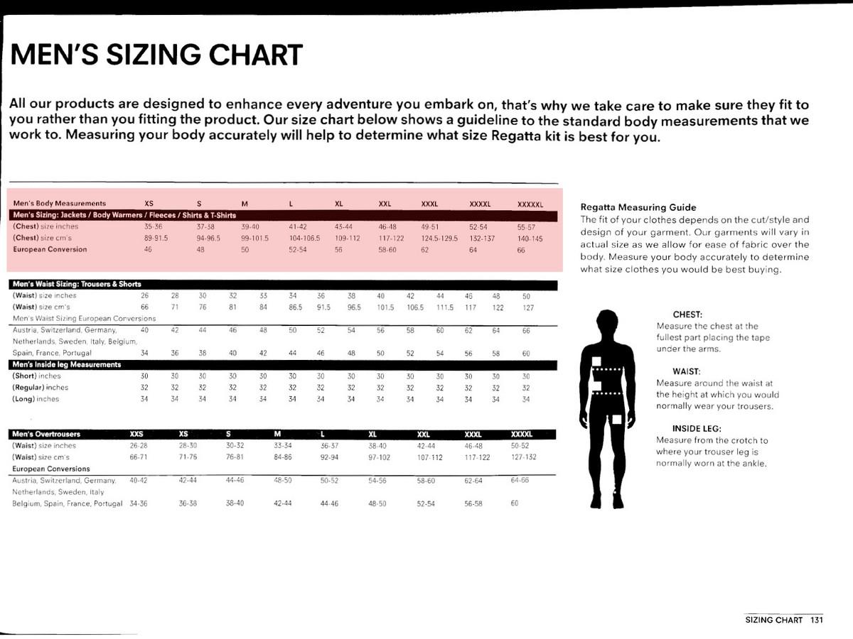Afbeeldingsresultaat voor regatta outdoor size chart