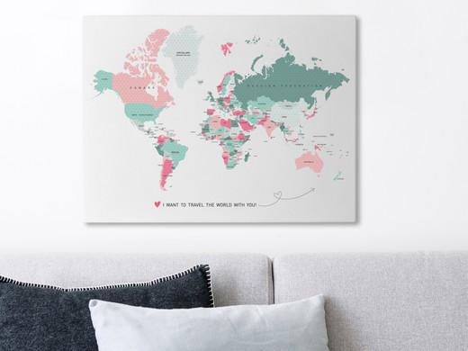 ... Gutschein: Weltkarte | Leinwand | 40 X 60