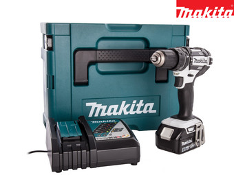 Makita 18 V Combi Drill with 4,0 Ah Battery | White/Black