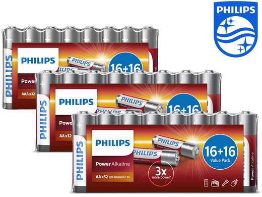 96x Philips Power Alkali-Batterien