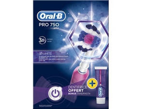 Duopack - Oral-B Pro 750 Pink + 3D White Tandpasta