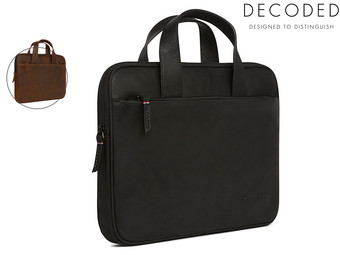 Decoded Leren Waxed Slim MacBook Tas