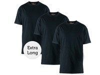 3x Zwart Long fit T-shirt Ronde Hals