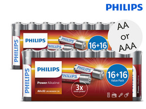 64x Philips Power Alkali-Batterien, AA oder AAA