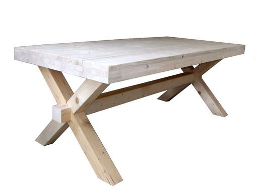 Kruispoot tafel steigerhout bouwpakket internets best online