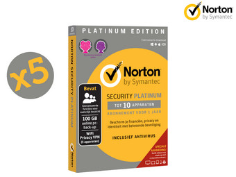 5x Norton Security Platinum Edition | 1 Jaar | 10 Apparaten