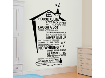 Muursticker House Rules Cat