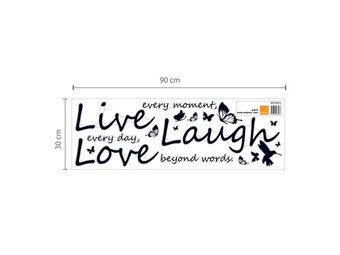 Muursticker Live, Laugh, Love