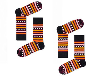 2x Happy Socks | Stripe & Stripe  41 - 46