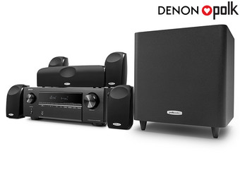 Denon 4K 5.1 Receiver + Polk Audio Speakers