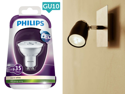 philips led lampjes of spots 4 pack met e27 e14 of gu10. Black Bedroom Furniture Sets. Home Design Ideas