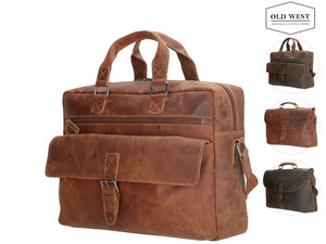 Old West Lederen Laptoptas | 15,6""