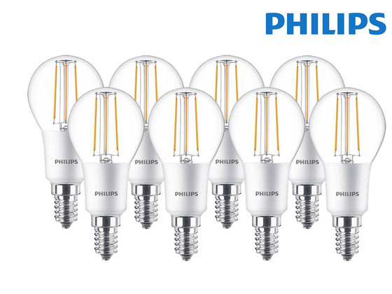 8x Philips LED Classic Dimbare Kogellamp | E14