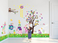 Wall Sticker Decal Happy Animals with Owl Tree Sta