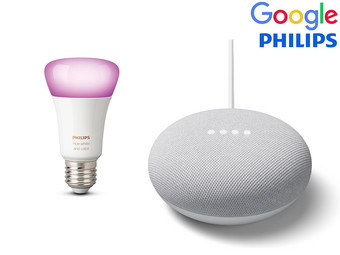 Google Nest Smart Speaker + Philips Hue Lamp White and Color Ambiance E27