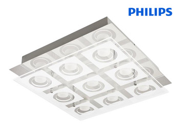 Philips myLiving Polygon Deckenleuchte | Chrome | 9x 5W