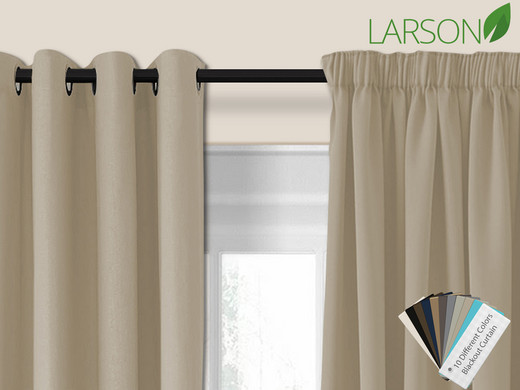 Larson Blackout Gordijnen 150x250 - Haak- of Ringbevestiging (10 ...