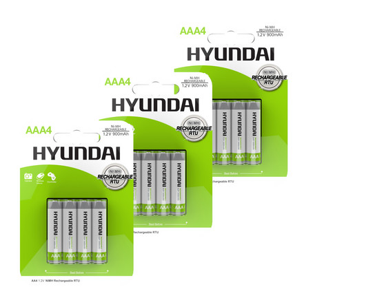 12x Hyundai Oplaadbare AAA Batterij