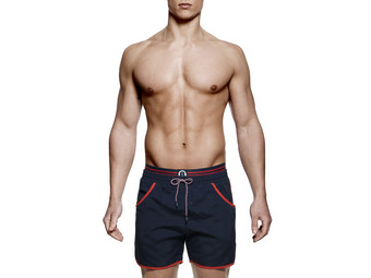 Badeshorts Navy Orange