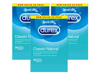 3x 20 Durex Classic Natural Kondome