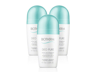 3x Biotherm Deo Pure Roller | 75 ml