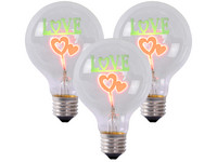 "3x ""Love"" LED (E27, Ø 8 cm)"