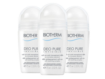 3x Biotherm Pure Invisible Deo Roll-On