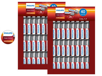 Philips Power Alkaline Batterijen | 80x AA of 80x AAA