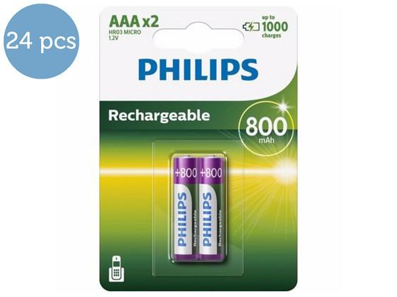 Korting 24x Philips Batterij AAA | Herlaadbaar
