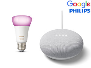 Google Nest Mini + żarówka Philips Hue