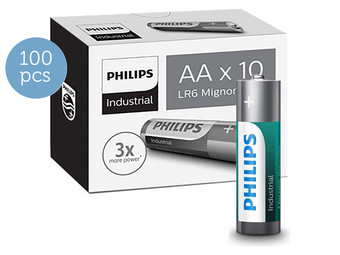 100x Philips Alkaline Industrial | AA
