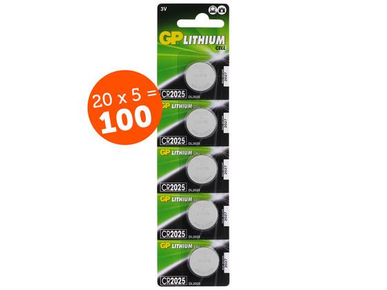 Korting 100x Lithium Knoopcel | CR2025 | 3 V