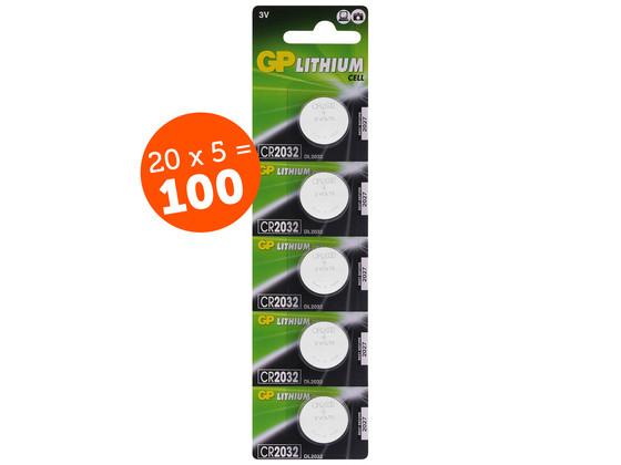 Korting 100x Lithium Knoopcel | CR2032 | 3 V