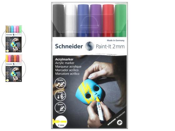 Korting 6x Schneider Paint It Acrylverfstift 2 mm