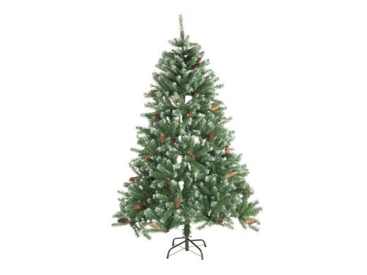 Künstlicher Weihnachtsbaum 150 Cm.Künstlicher Weihnachtsbaum Tanne Mit Schnee Tannenzapfen Und Roten